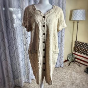 Vintage Miss Dorby Linen Button Front Dress 14